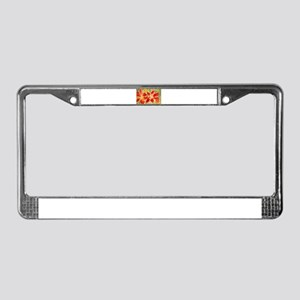 Red orchids! Beautiful art! License Plate Frame