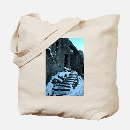 Icy Steps at Conwy Castle, Wales Tote Bag