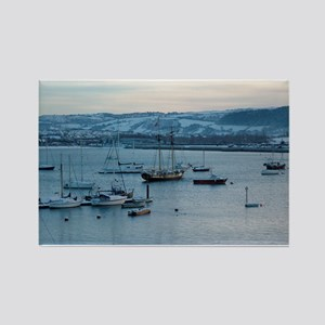 Snowy Conwy Estuary, Conwy, Wales Rectangle Magnet