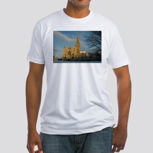 Salisbury Cathedral in the Snow Fitted T-Shirt