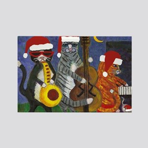 Jazz Cats Christmas Music Rectangle Magnet
