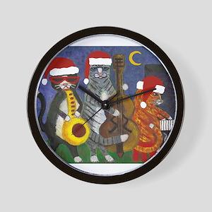 Jazz Cats Christmas Music Wall Clock