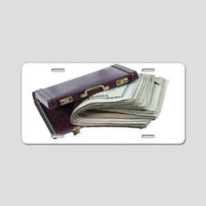 Lots of Money in Briefcase Aluminum License Plate