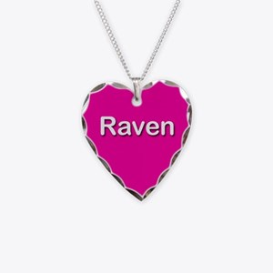 Raven Pink Heart Necklace Charm