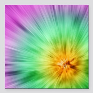 "Green And Purple Tie Dye Square Car Magnet 3"" x 3"""