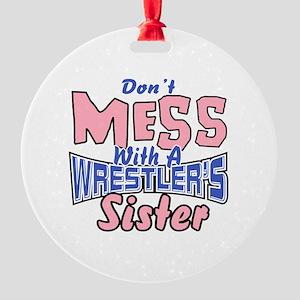 Wrestler's Sister Round Ornament