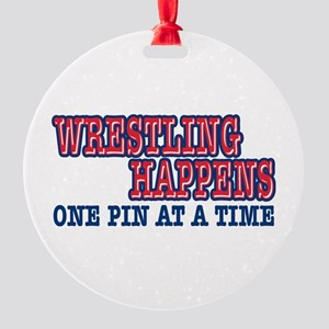 Wrestling Happens Round Ornament