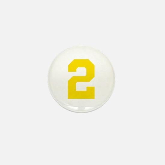 2 YELLOW # TWO Mini Button