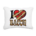I Love Bacon Rectangular Canvas Pillow