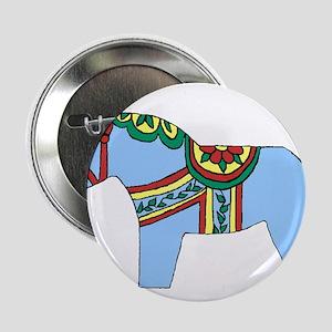 "Blue Dala Horse 2.25"" Button"