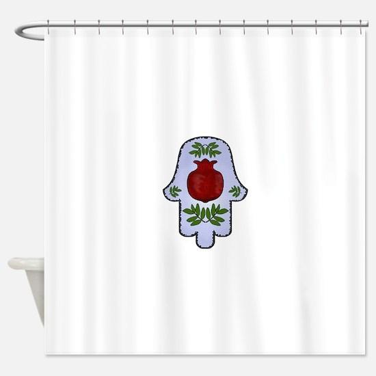 Hamsa Pomegranate Blue Shower Curtain