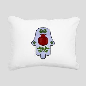 Hamsa Pomegranate Blue Rectangular Canvas Pillow