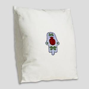 Hamsa Pomegranate Blue Burlap Throw Pillow