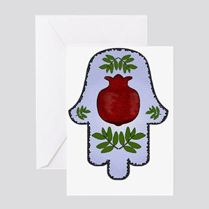 Hamsa Pomegranate Blue Greeting Cards