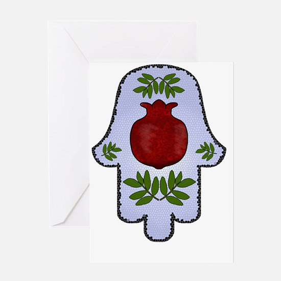 Hamsa Pomegranate Blue Greeting Cards