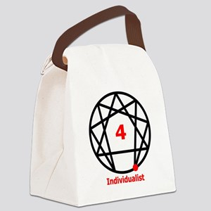 Enneagram 4 w text White Canvas Lunch Bag