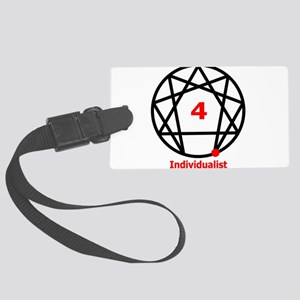 Enneagram 4 w text White Large Luggage Tag
