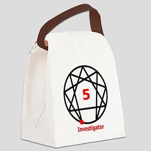 Enneagram 5 w text White Canvas Lunch Bag