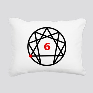 Enneagram 6 White Rectangular Canvas Pillow
