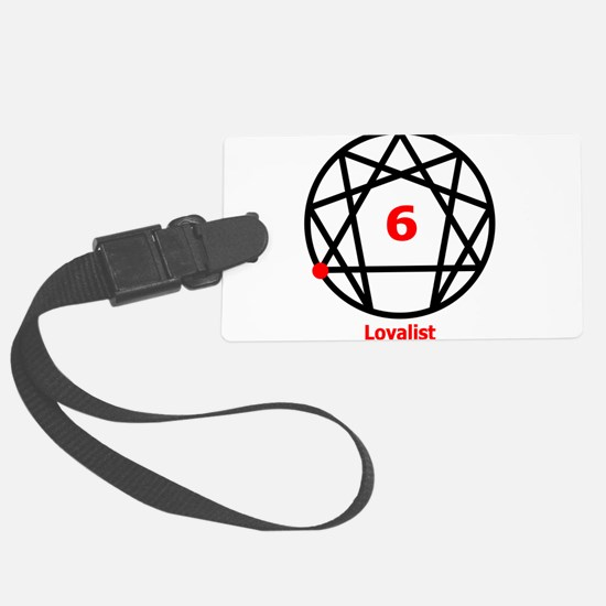 Enneagram 6 w text White.png Luggage Tag