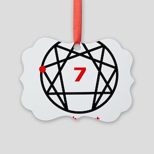 Enneagram 7 w text White Picture Ornament