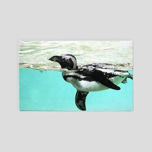 Swimming Penguin 3x5 Area Rug