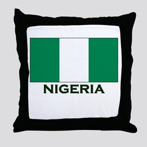 Nigeria Flag Gear Throw Pillow