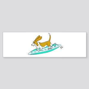 Surfing Basset Bumper Sticker