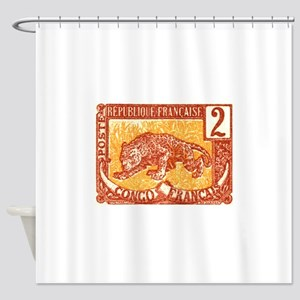 1900 French Congo Leopard Postage Stamp Shower Cur