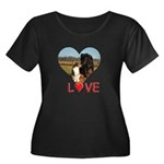 Love Hearts Women's Plus Size Scoop Neck Dark T-Sh