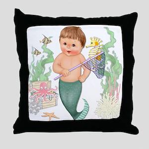 Little Merboy Throw Pillow