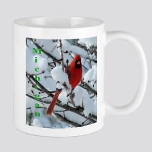 Cardinal in snow Mug