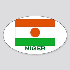 Niger Flag Gear Oval Sticker