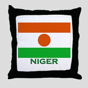 Niger Flag Gear Throw Pillow