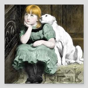 Dog Adoring Girl Victorian Painting Square Car Mag