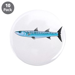 "Pacific Barracuda fish 3.5"" Button (10 pack)"