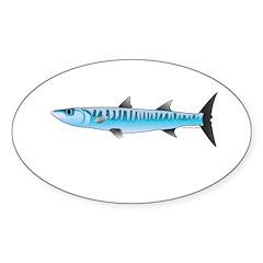 Pacific Barracuda fish Sticker (Oval 10 pk)