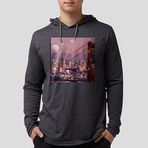 Moon over San Francisco clock 2. Mens Hooded Shirt