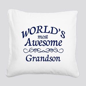 Awesome Grandson Square Canvas Pillow