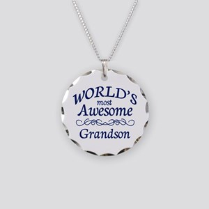 Awesome Grandson Necklace Circle Charm