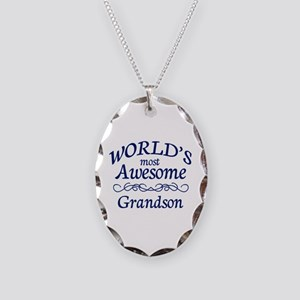 Awesome Grandson Necklace Oval Charm