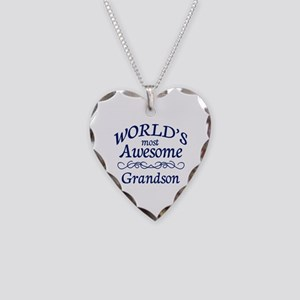 Awesome Grandson Necklace Heart Charm