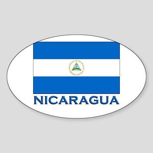 Nicaragua Flag Gear Oval Sticker