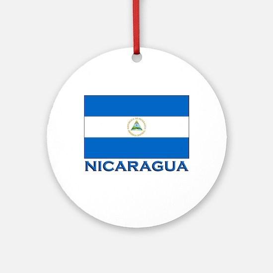 Nicaragua Flag Gear Ornament (Round)