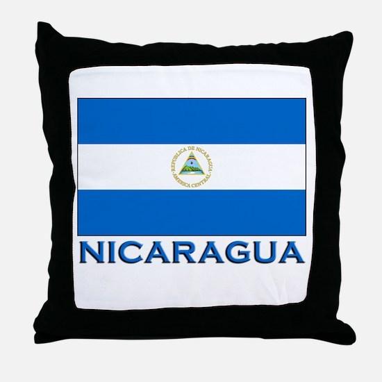 Nicaragua Flag Gear Throw Pillow