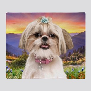 Shih Tzu Meadow Throw Blanket