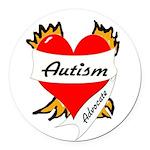 Autism Advocate Tattoo Heart Round Car Magnet