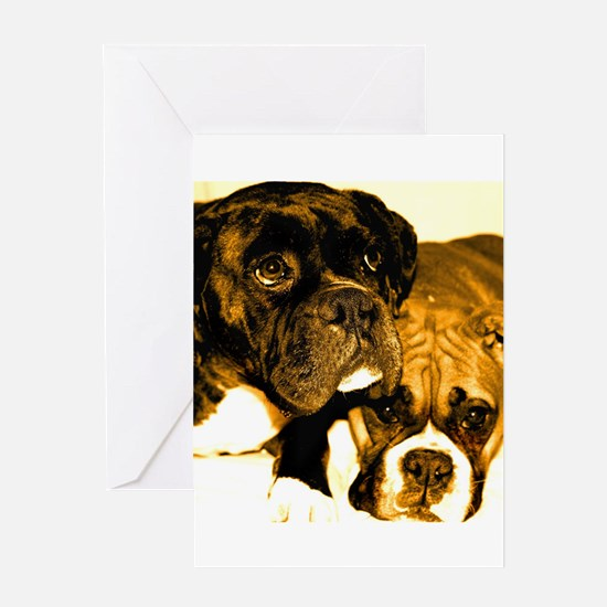 Boxer Dog Friends Greeting Card