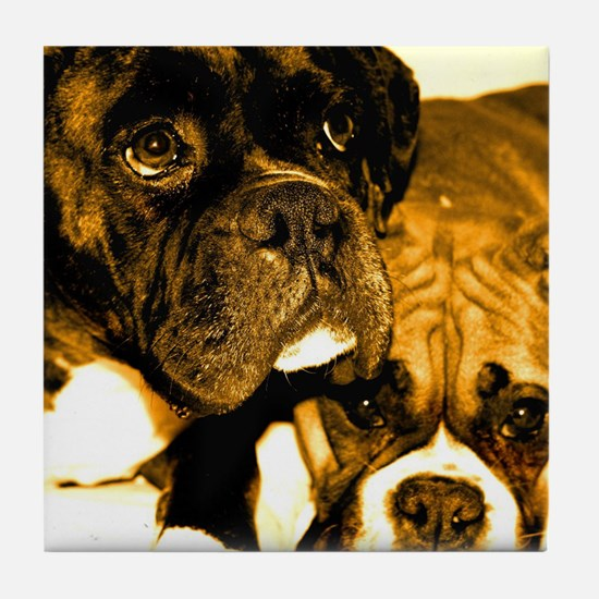 Boxer Dog Friends Tile Coaster