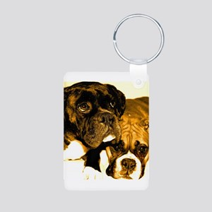 Boxer Dog Friends Aluminum Photo Keychain